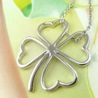 Good Luck Four Leaf Clover Silverplate Necklace