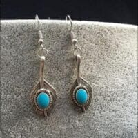 Boho Feathers and Turquoise Earrings