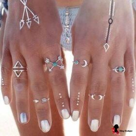 6 Pcs. Retro Silver Turquoise Knuckle Rings