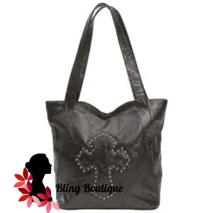 Embassy Design Genuine Leather Purse with Studded Cross