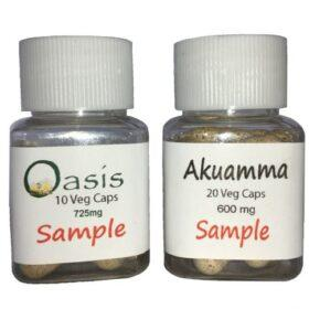 Free Sample Bottle of 20 Akuamma capsules and 10 Oasis capsules + shipping* – 1 per name or address