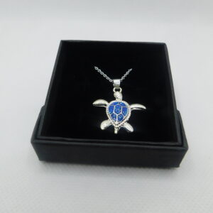 Turtle Necklace – Blue/Silver