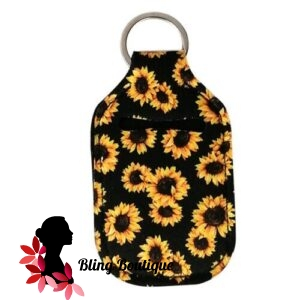 Neoprene Hand Sanitizer Holder for 1.0oz/30ml Bottles – SUNFLOWERS – BLACK