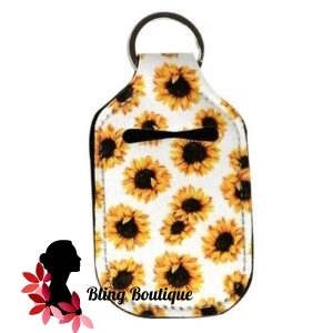 Neoprene Hand Sanitizer Holder for 1.0oz/30ml Bottles – SUNFLOWERS – WHITE