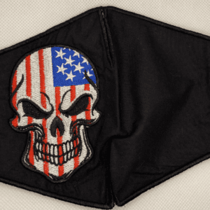 Skull w/Flag Handmade Mask w/Soft Elastic Ear Loops